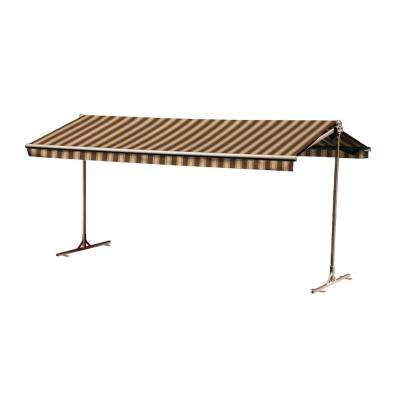 12 ft. Oasis Freestanding Motorized Retractable Awning (120 in. Projection) with Remote in Pecan