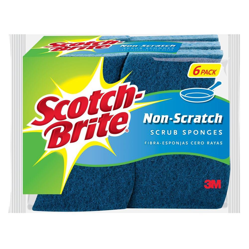 4.4 in. x 2.5 in. x .8 in. Non-Scratch Scrub Sponge (6-Pack)