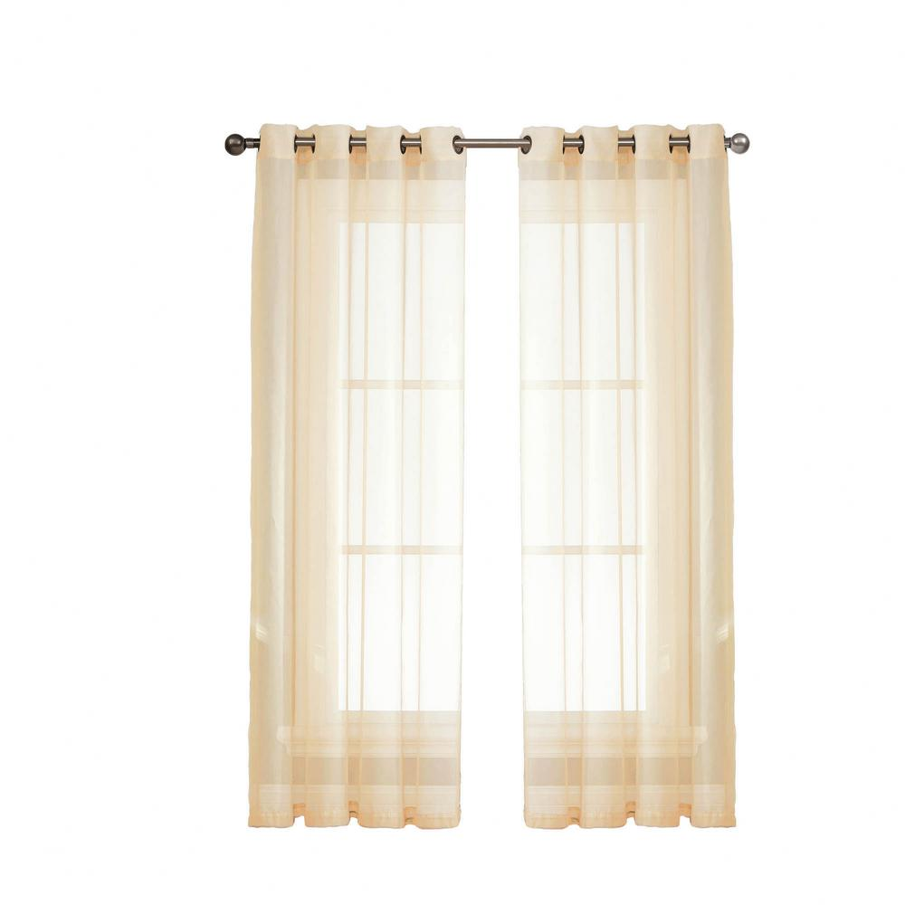 Window Elements Sheer Diamond Voile Beige Grommet Extra Wide Curtain Panel 56 In