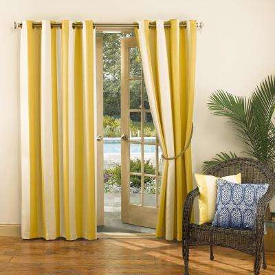 Semi Opaque Watts Yellow Indoor/Outdoor Woven Stripe Color Window Curtain  52 In.