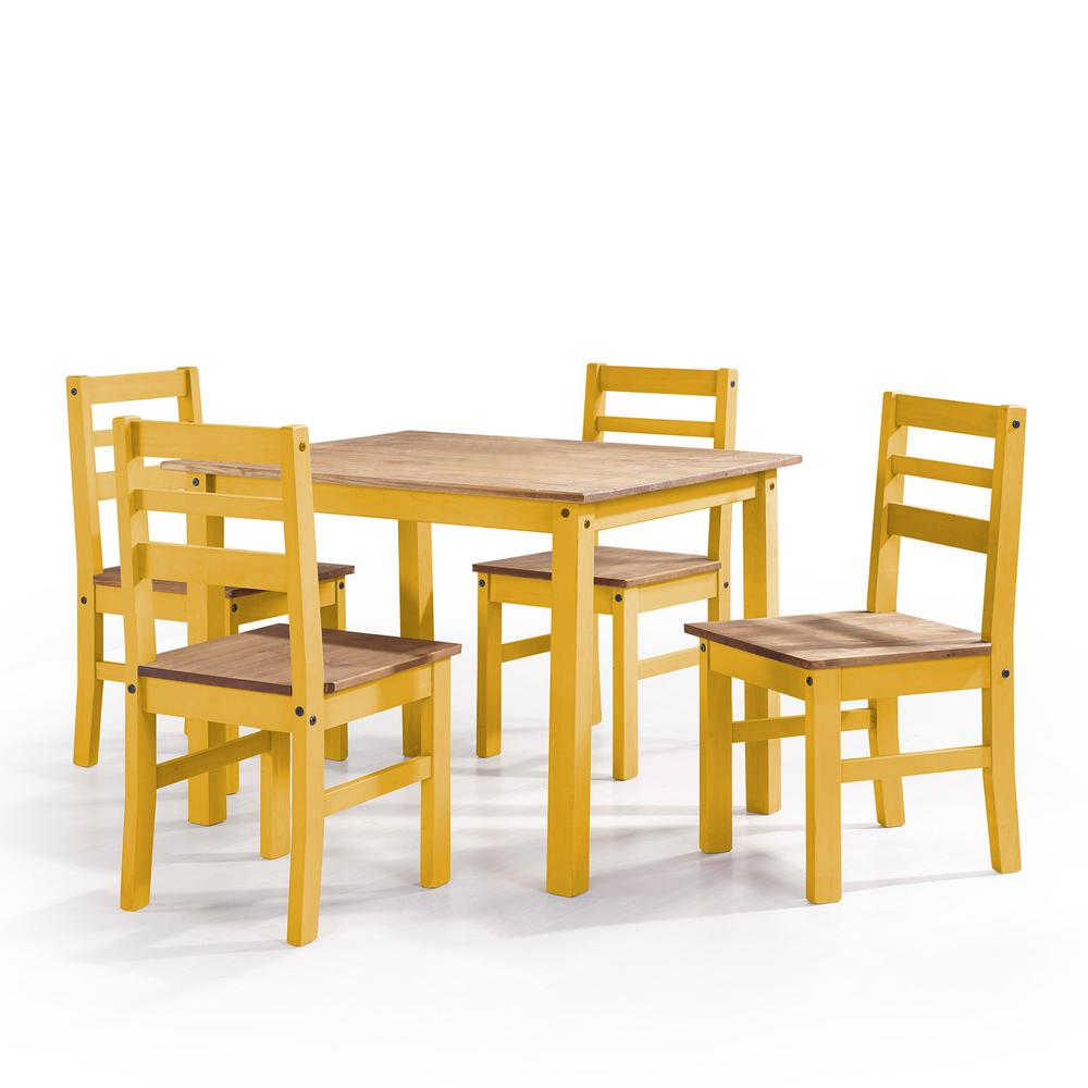 Beau Manhattan Comfort Maiden 5 Piece Yellow Wash Solid Wood Dining Set With  1 Table