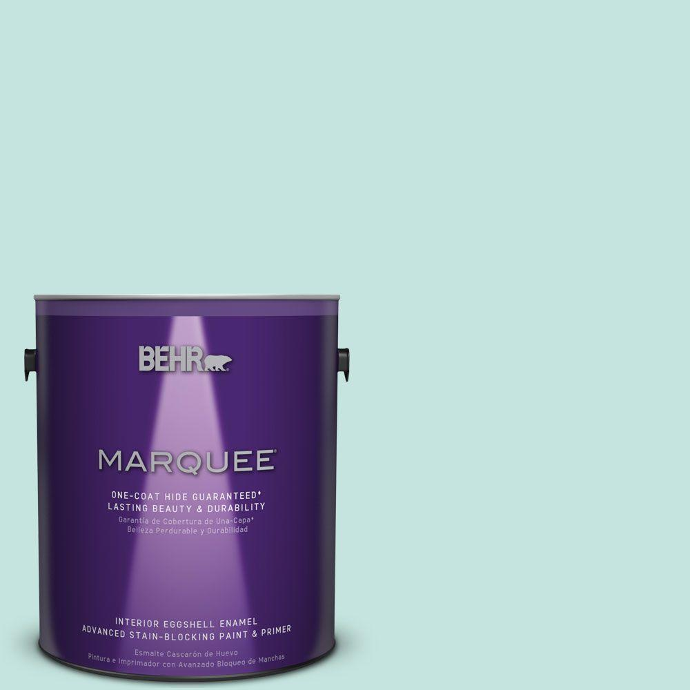 BEHR MARQUEE 1 gal. #MQ3-19 Misty Isle Eggshell Enamel One-Coat Hide Interior Paint and Primer in One