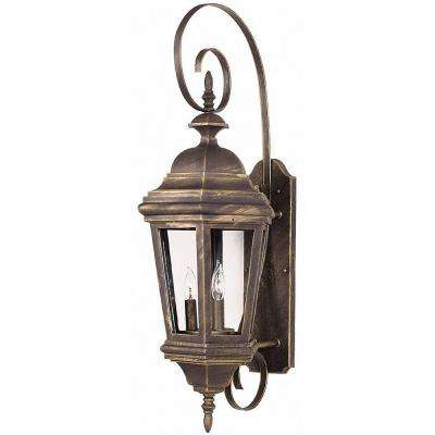 Estate Antique Patina Large 3-Light Wall Lantern