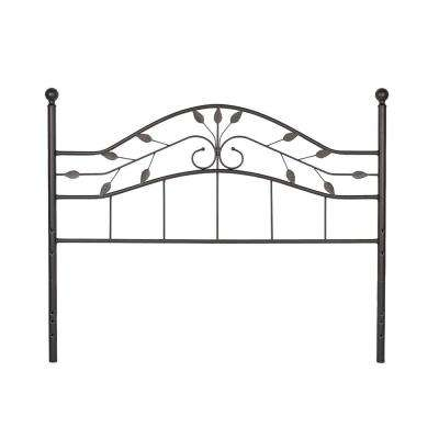 Sycamore Full-Size Headboard with Arched Metal Panel and Leaf Pattern Design in Hammered Copper
