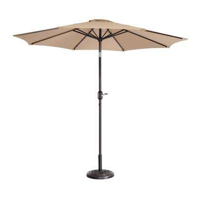 9 ft. Aluminum Market Auto Tilt Patio Umbrella in Beige