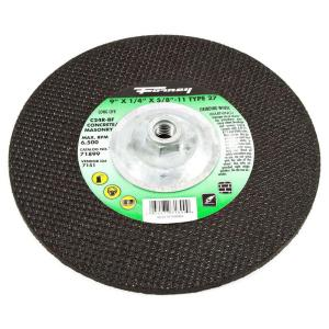 Forney 9 inch x 1/4 inch x 5/8 in.-11 Threaded Masonry C24R-BF Grinding Wheel by Forney