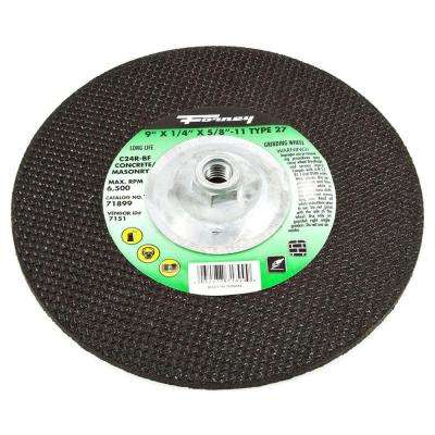 9 in. x 1/4 in. x 5/8 in.-11 Threaded Masonry C24R-BF Grinding Wheel