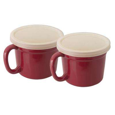8 oz. Geminis Covered Red Stoneware Cups (Set of 4)