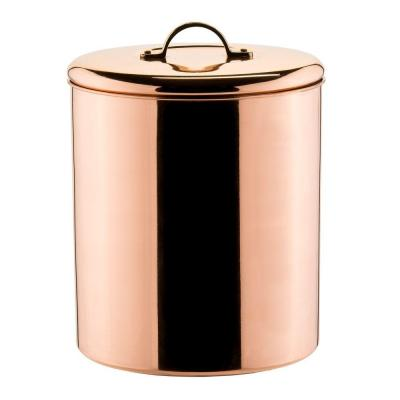 4 qt. Cookie Jar in Polished Copper with Knob in Brass