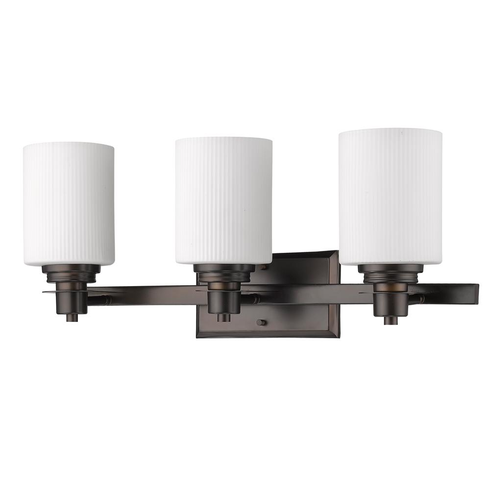 Acclaim Lighting Amelia 3-Light Oil-Rubbed Bronze Vanity Light with Ribbed Glass Shades
