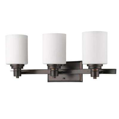 Amelia 3-Light Oil-Rubbed Bronze Vanity Light with Ribbed Glass Shades