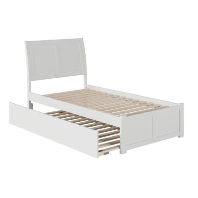 Portland Twin Extra Long Bed with Footboard and Twin Extra Long Trundle in White