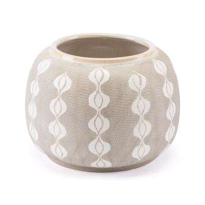 Libre 10.6 in. W x 7.9 in. H White and Gray Ceramic Planter