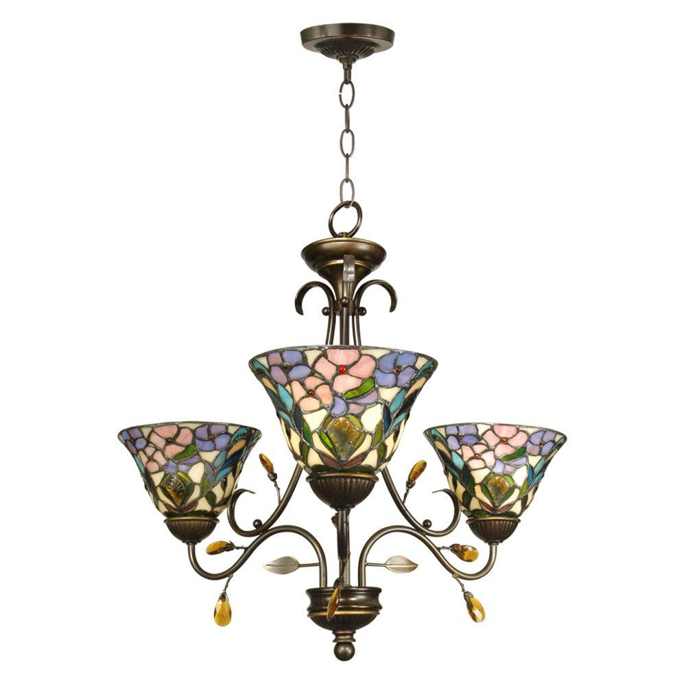 Dale tiffany 3 light antique golden sand peony tiffany hanging fixture