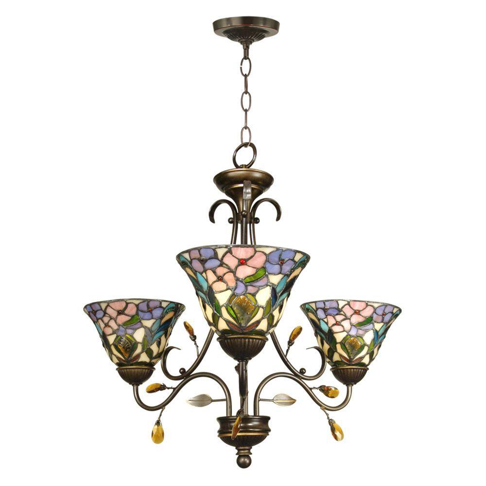 3-Light Antique Golden Sand Peony Tiffany Hanging Fixture