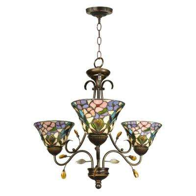 3-Light Antique Golden Sand Peony Tiffany Hanging Fixture