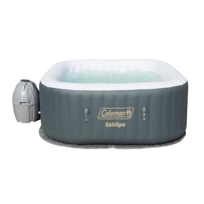 SaluSpa 4 Person Portable Inflatable Outdoor AirJet Spa Hot Tub, Gray