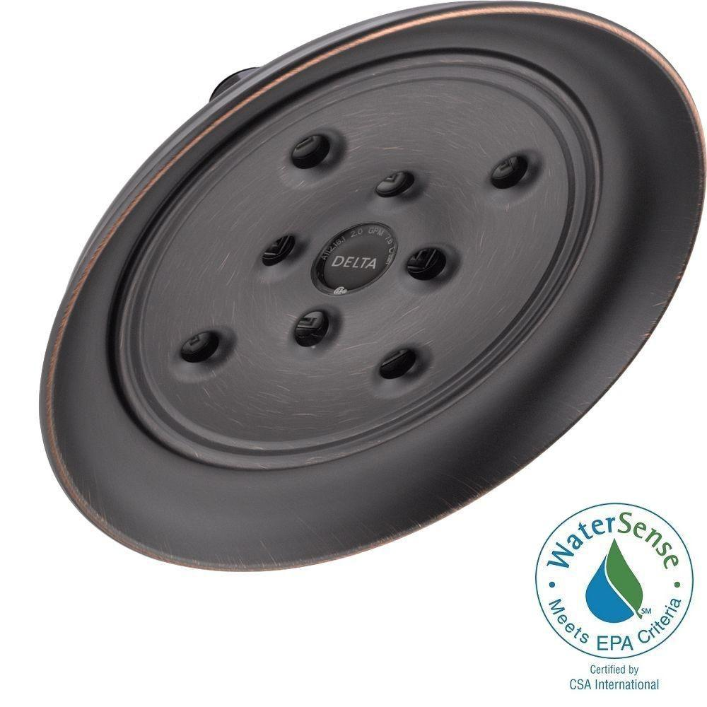 Delta 1-Spray 8 in. Raincan H2Okinetic Shower Head in Venetian Bronze