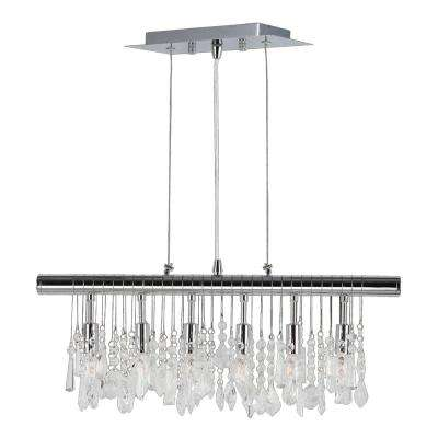 Nadia Collection 6-Light Chrome with Clear Crystal Pendant