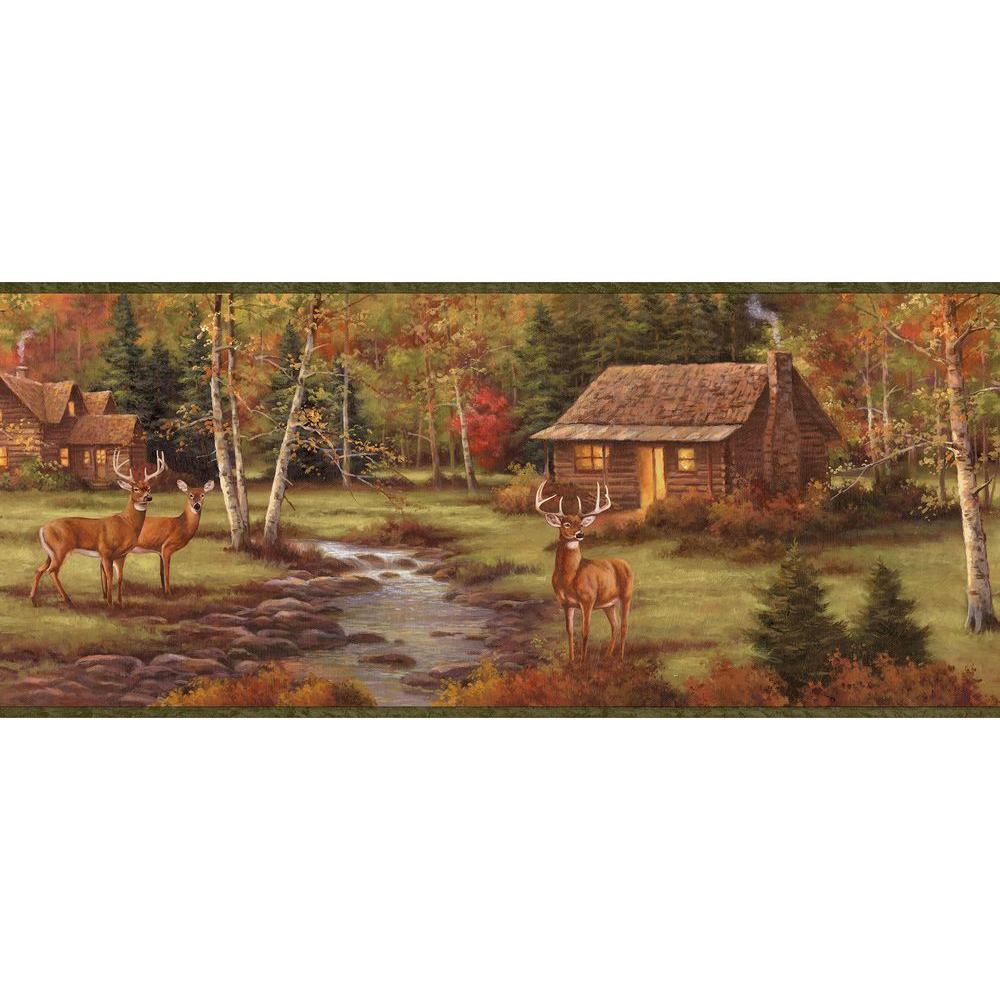 Chesapeake Saltonstall Sage Stag Creek Wallpaper Border Sample TLL50051BSAM