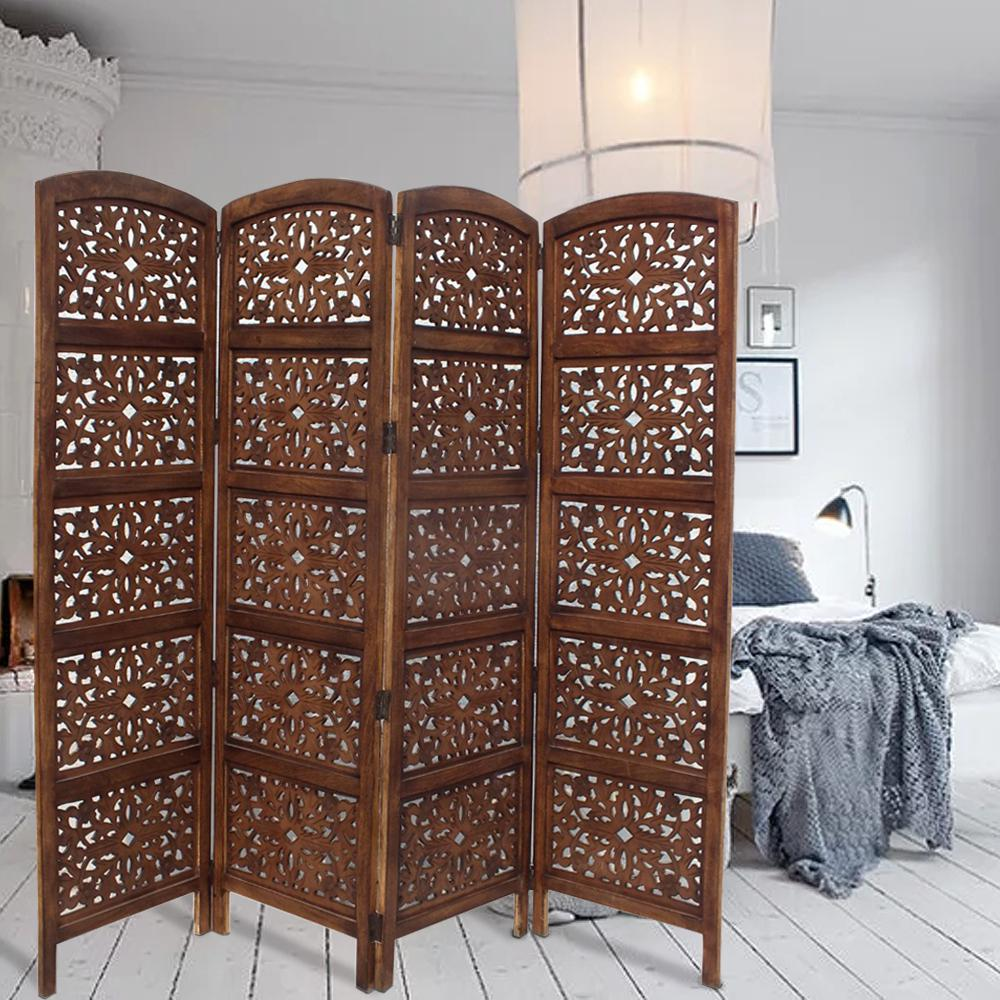 The Urban Port Handmade Foldable 4 Panel Brown Wooden Parion Screen Room Divider