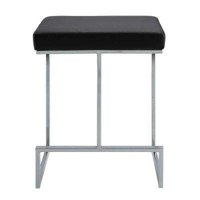 Kafka 24 in. Black and Chrome Upholstered Counter Stool
