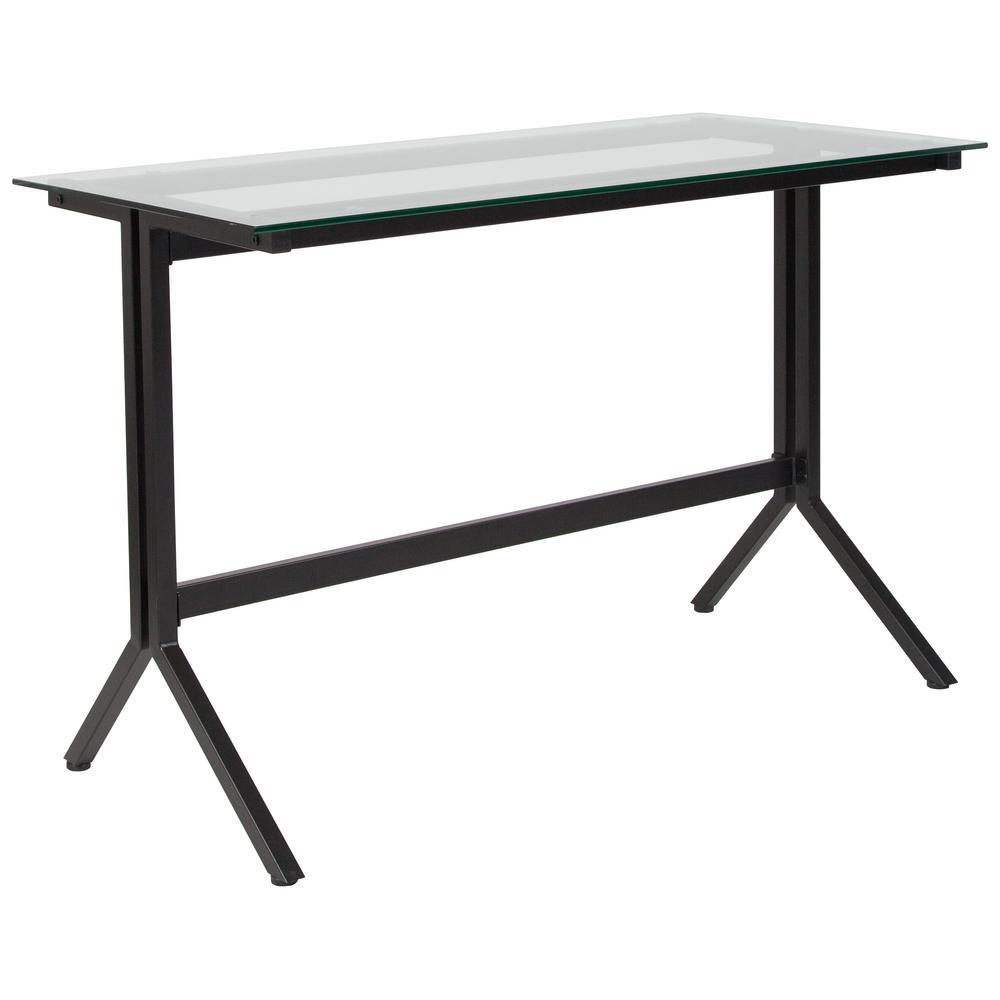Flash Furniture Highland Collection Glass Computer Desk With Black Metal Frame