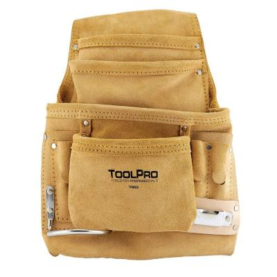 10-Pocket Suede Leather Nail and Tool Pouch