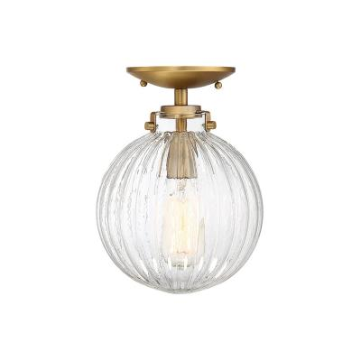 1-Light Natural Brass Semi-Flush Mount with Clear Ribbed Glass