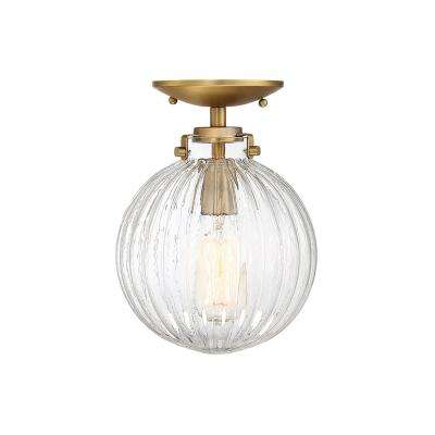 1-Light Natural Brass Semi-Flushmount with Clear Ribbed Glass