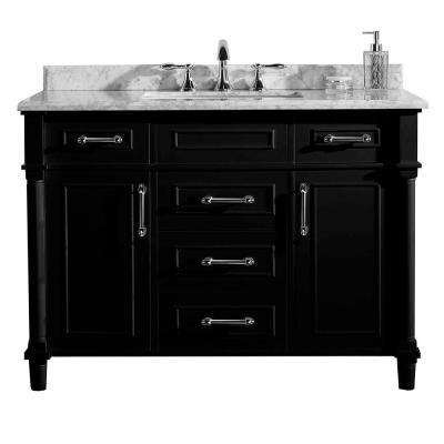 Aberdeen 48 in. W x 22 in. D Vanity in Black with Marble Vanity Top in White with White Basin