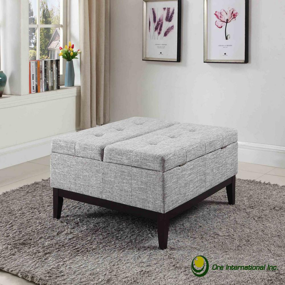 Beige Grey Dual Lift Storage Coffee Table Ottoman