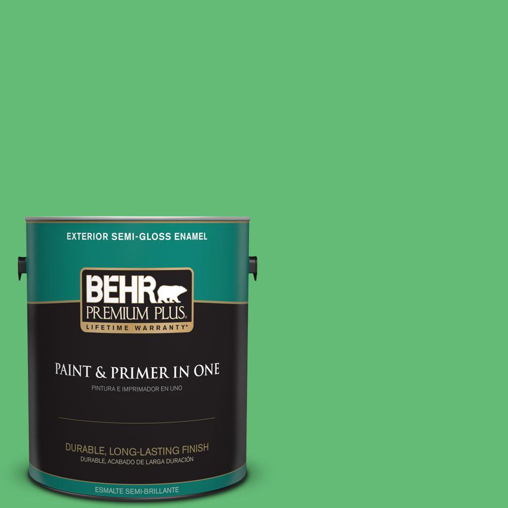 BEHR Premium Plus 1-gal. #450B-5 Lady Luck Semi-Gloss Enamel Exterior Paint