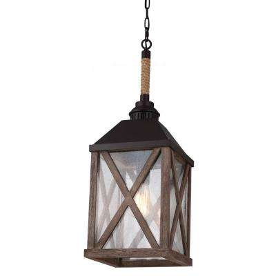 Lumiere 1-Light Dark Weathered Oak/Oil Rubbed Bronze Pendant