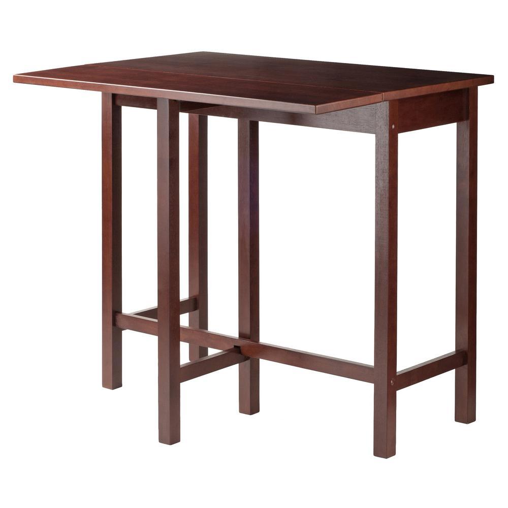 Winsome wood lynnwood drop leaf high table in walnut
