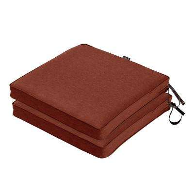Montlake FadeSafe 20 in. L x 20 in. W x 2 in. Thick Heather Henna Red Square Outdoor Seat Cushion (2-Pack)