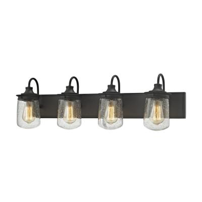 Hamel 4-Light Oil Rubbed Bronze with Clear Seedy Glass Bath Light