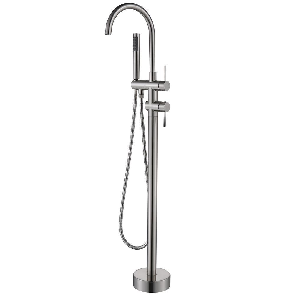 2-Handle Floor-Mount Roman Tub Faucet with Hand Shower in Brushed Nickel Floor Mounted Freestanding Tub Filler