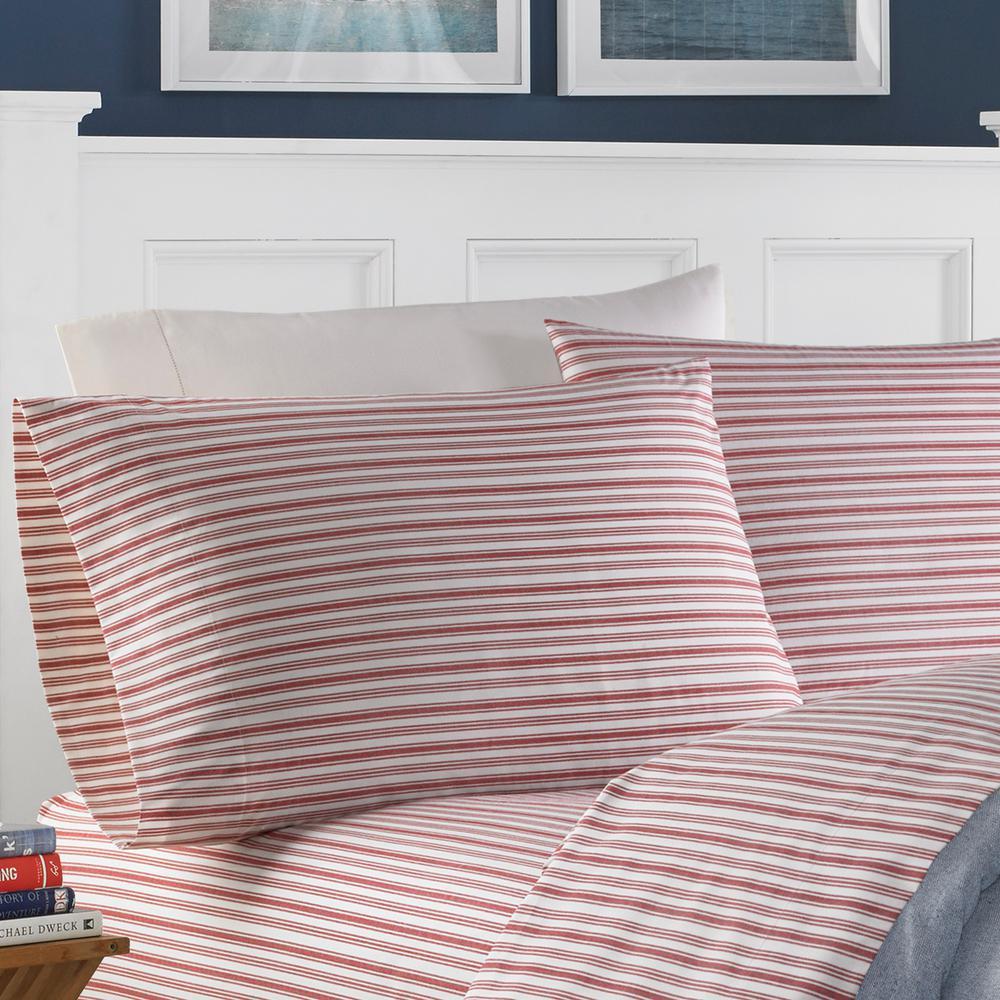 Nautica 3 Piece Coastal Colridge Red Striped 200 Thread Count Cotton Twin Sheet Set 208671 The Home Depot