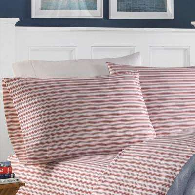 Nautica Cotton 4-Piece Red Striped 200 Thread Count Full Sheet Set