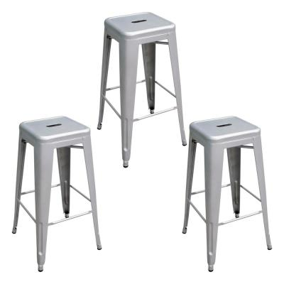 Loft Style 30 in. Silver Stackable Metal Bar Stool (Set of 3)