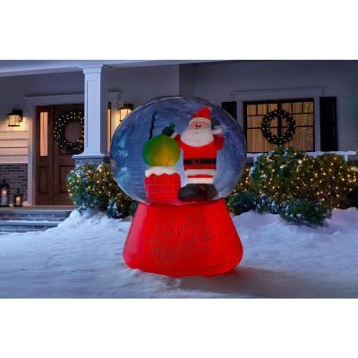 5.5 ft. Projection Inflatable Snow flurry-Snow Globe Santa On The Rooftop Scene