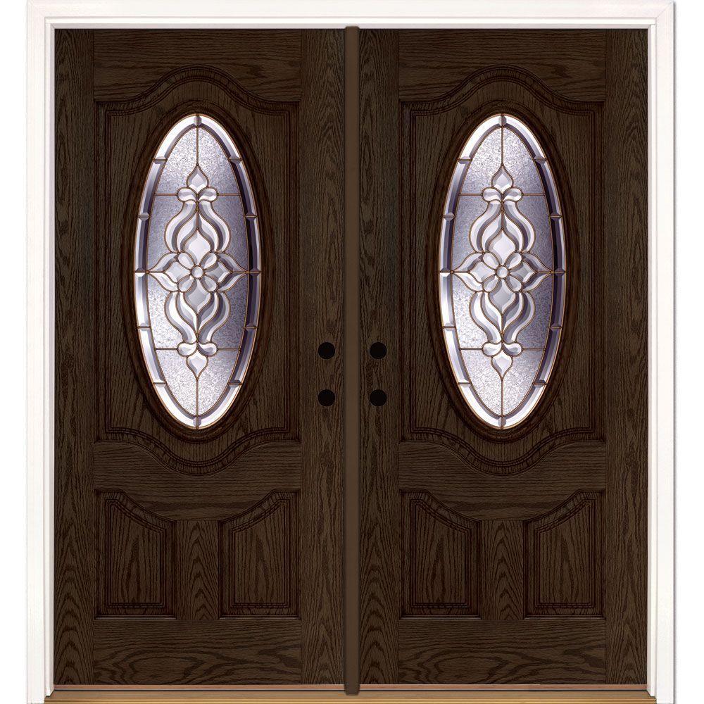 Feather River Doors 74 in. x 81.625 in. Lakewood Brass 3/4 Oval Lite Stained Walnut Oak Left-Hand Fiberglass Double Prehung Front Door