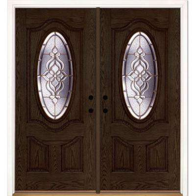74 in. x 81.625 in. Lakewood Brass 3/4 Oval Lite Stained Walnut Oak Left-Hand Fiberglass Double Prehung Front Door