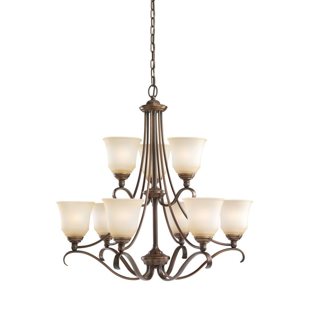 sea gull lighting parkview 9 light russet bronze chandelier with led bulbs 31381en3 829 the. Black Bedroom Furniture Sets. Home Design Ideas