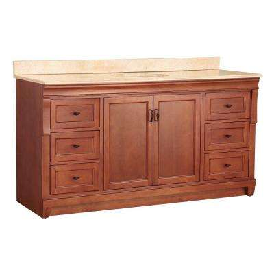 Naples 61 in. W x 22 in. D Bath Vanity in Warm Cinnamon with Stone Effects Vanity Top in Oasis