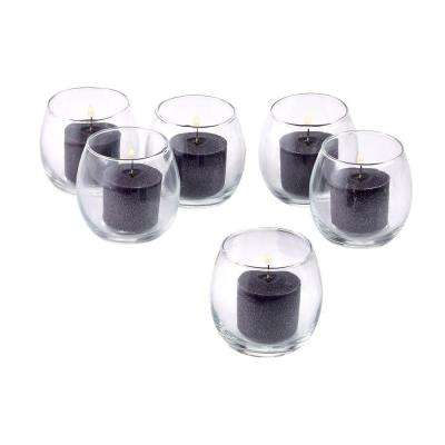 Clear Glass Hurricane Votive Candle Holders with Black Votive Candles (Set of 12)