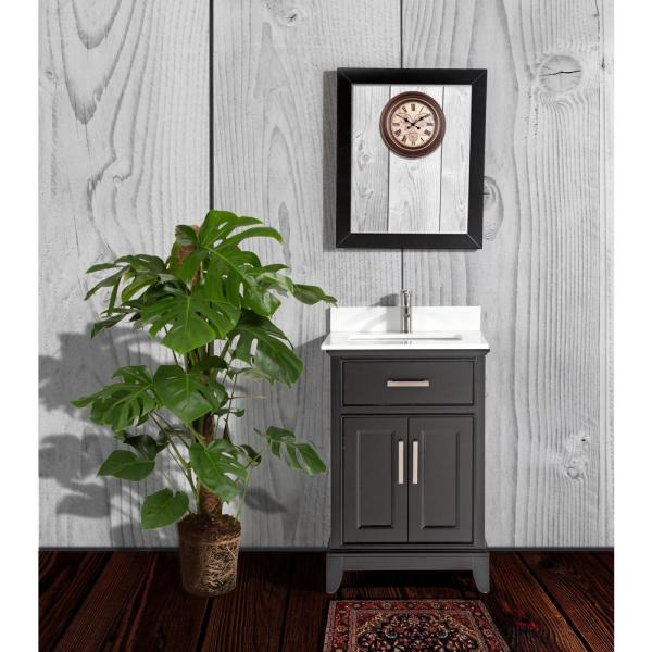 Genoa 24 in. W x 22 in. D x 36 in. H Bath Vanity in Espresso with Vanity Top in White with White Basin and Mirror