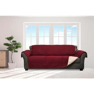 Jameson Garnet and Natural Reversible Waterproof Microfiber Sofa Cover with Elastic Buckle