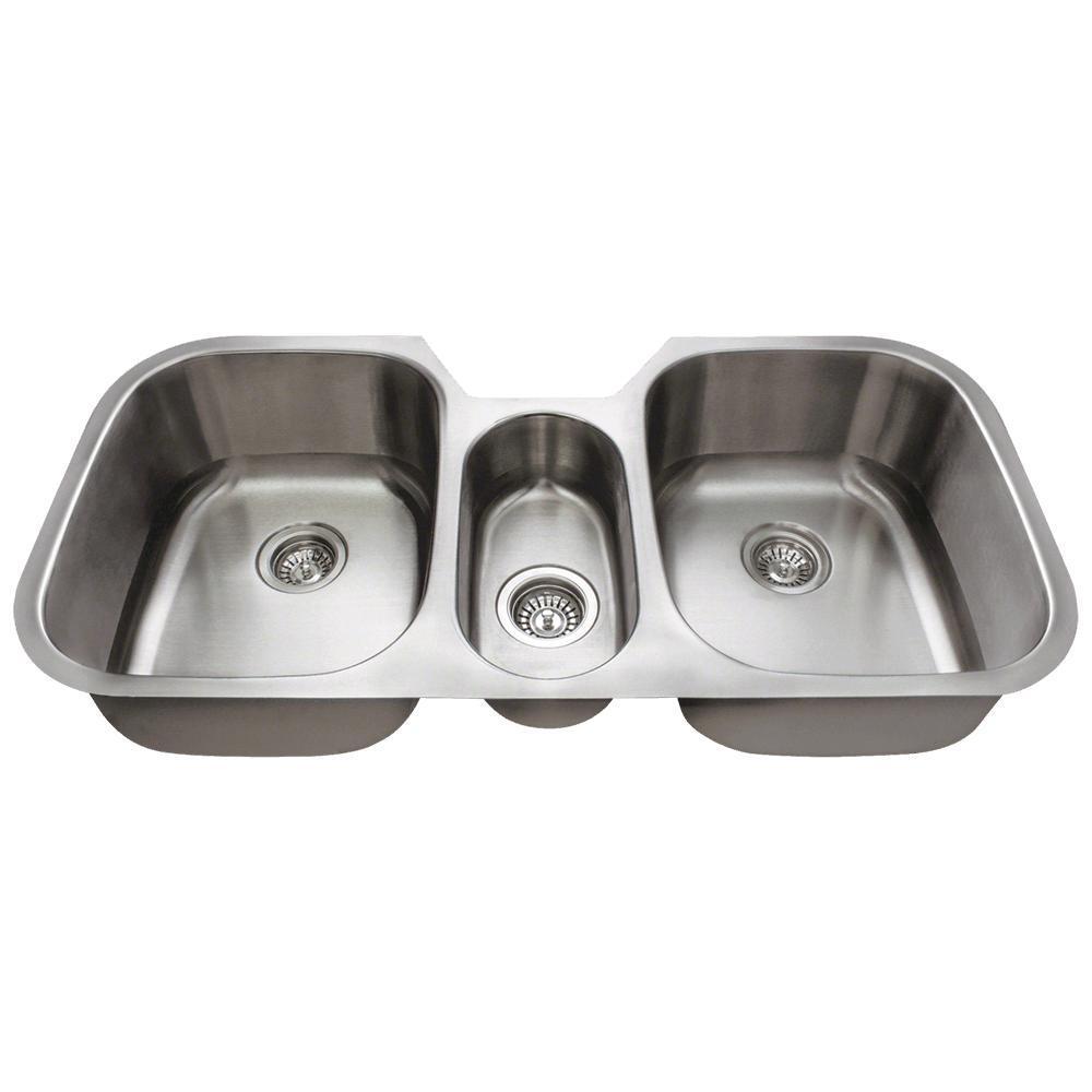 MR Direct Undermount Stainless Steel 43 In. Triple Bowl Kitchen Sink